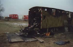Brand eines Bauwagens am 27.12.1989