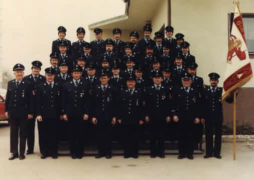 Aktive der FF Bruckbergerau im Jahre 1986